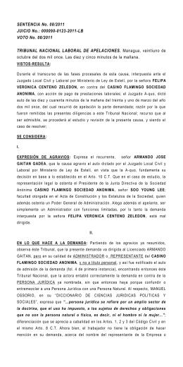 SENTENCIA No. 08/2011 JUICIO No.: 000090-0123-2011