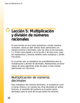 Lección 5: Multiplicación y división de números racionales