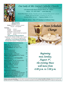 Mass Schedule Change - Our Lady of Mount Carmel