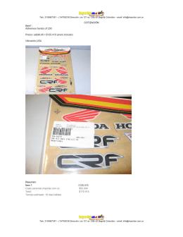COTIZACIÓN Item1 : Adhesivos honda crf 230 Precio: us$46,45