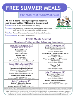 FREE SUMMER MEALS - City Of Poughkeepsie