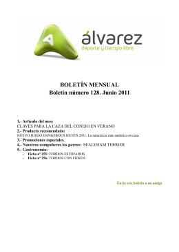 BOLETÍN MENSUAL Boletín número 128. Junio 2011