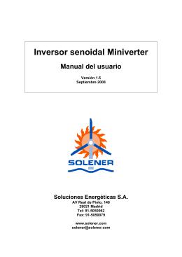 Manual del inversor senoidal Solener