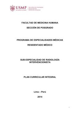 Radiología Intervencionista - Sección de Posgrado de la Facultad