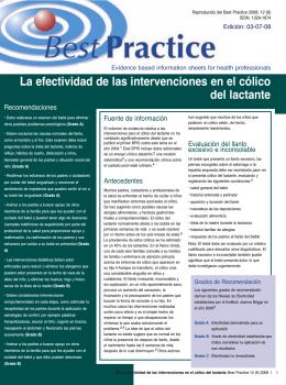 La efectividad de las intervenciones en el cólico del lactante