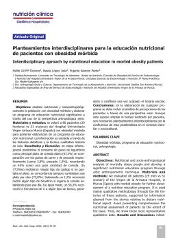 Planteamientos interdisciplinares para la educación nutricional de
