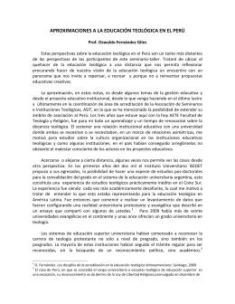 Aproximaciones a la educación teológica en el Perú