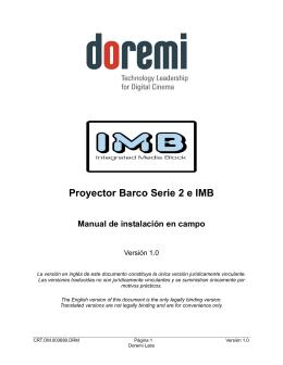 Proyector Barco Serie 2 e IMB Manual de instalación