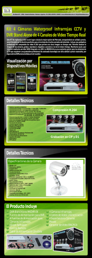 Kit 4 y DVR Stand Alone de 4 Canales de Video