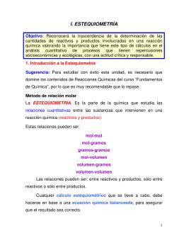 I. ESTEQUIOMETRÍA