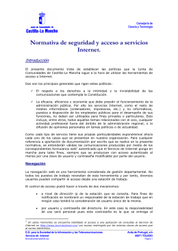 Normativa de acceso a Internet y correo electrónico JCCM