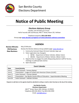Notice of Public Meeting - San Benito County Registrar of Voters