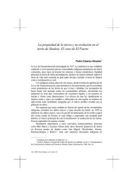 La propiedad de la tierra y su evolución en el norte de Sinaloa: El