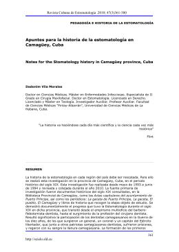 Apuntes para la historia de la estomatología en