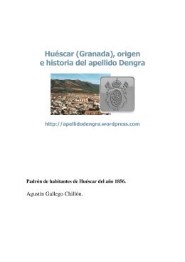 Padrón de habitantes de Huéscar del año 1856.