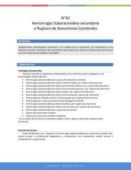 Hemorragia Subaracnoidea Secundaria a ruptura de Aneurismas