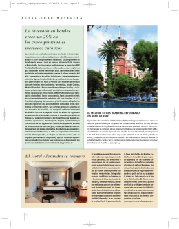 El Hotel Alexandra se renueva La inversión en hoteles crece un 29