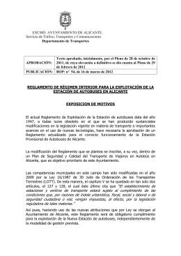 Reglamento de régimen interior para la explotación de la estación