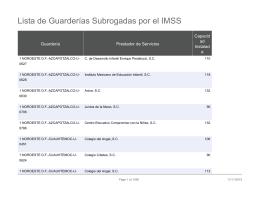 Lista de Guarderías Subrogadas por el IMSS