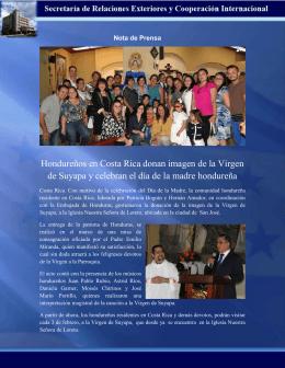 Hondureños en Costa Rica donan imagen de la Virgen de Suyapa y
