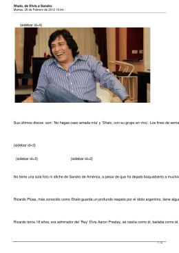Shalo, de Elvis a Sandro - Últimas Noticias
