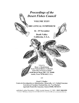 Proceedings of the Desert Fishes Council 2003