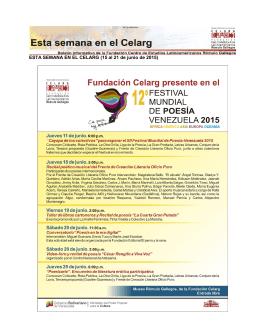 ESTA SEMANA EN EL CELARG (15 al 21 de junio de 2015)