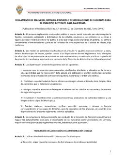 REGLAMENTO DE ANUNCIOS, ROTULOS, PINTURAS Y