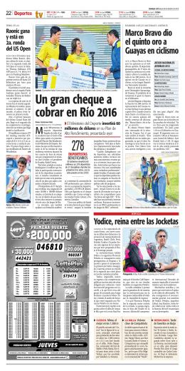 Un gran cheque a cobrar en Río 2016