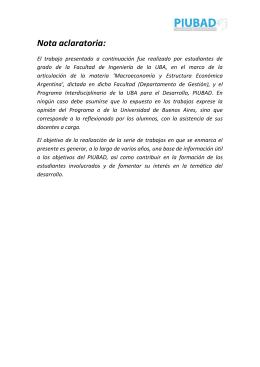 Nota aclaratoria: - Universidad de Buenos Aires