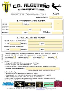 Inscripción C.D. Algeteño