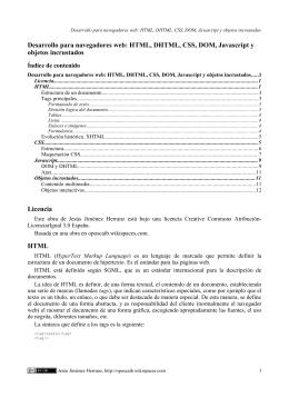 HTML, DHTML, CSS, DOM, Javascript y objetos