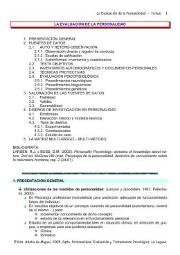 LA EVALUACIÓN DE LA PERSONALIDAD 1. PRESENTACIÓN