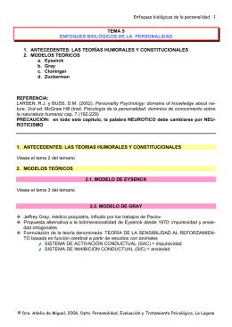TEMA 5 ENFOQUES BIOLÓGICOS DE LA PERSONALIDAD 1