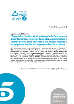 """""""Pasapalabra"""" celebra el 25 aniversario de Telecinco"""