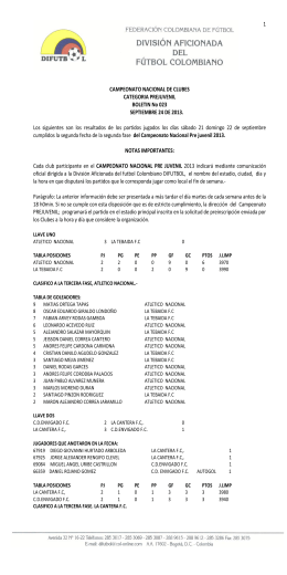 Boletín 022 Nacional Interclubes Prejuvenil 2013
