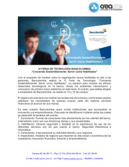 """VI FERIA DE TECNOLOGÍA BANCOLOMBIA """"Creciendo"""