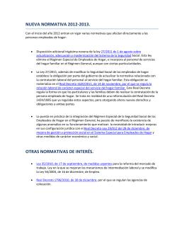 NUEVA NORMATIVA 2012-2013. OTRAS NORMATIVAS DE