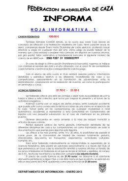 Informacion - Federación Madrileña de Caza