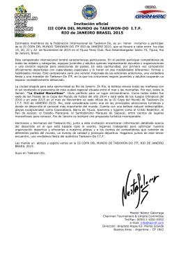 Invitación oficial III COPA DEL MUNDO de TAEKWON
