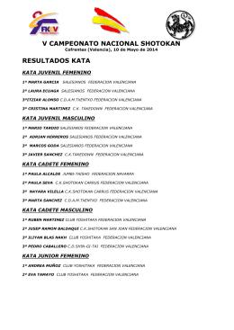 RESULTADOS NACIONAL SHOTOKAN 2014