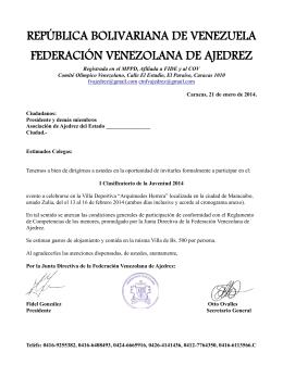 república bolivariana de venezuela federación venezolana de ajedrez