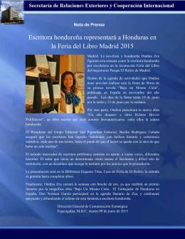 Escritora hondureña representará a Honduras en la Feria del Libro