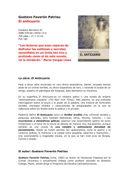 Gustavo Faverón Patriau El anticuario