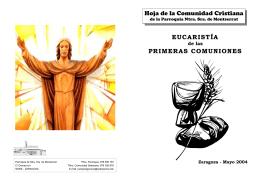 Hoja de la Comunidad Cristiana EUCARISTÍA PRIMERAS