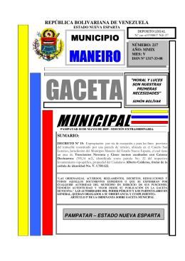 Gaceta Nº 217 - Municipio Maneiro