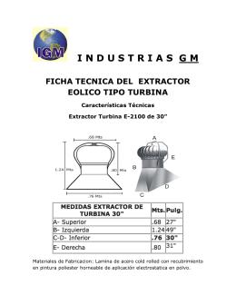 industriasgm ficha tecnica del extractor eolico tipo turbina