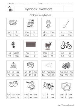 Syllabes : exercices