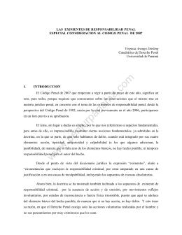 Las eximentes de responsabilidad penal especial consideración en