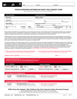 VISION SCREENING INFORMATION SHEET AND CONSENT FORM
